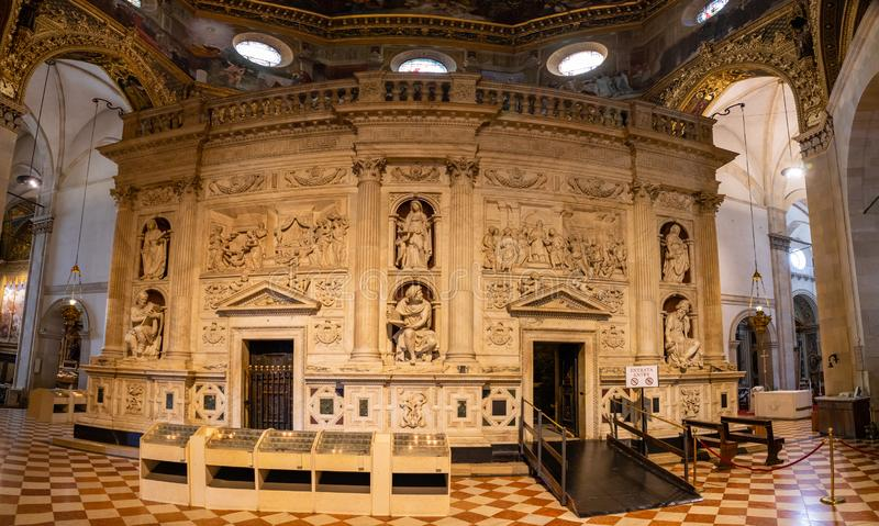 Loreto, Ancona, Italy - 11.10.2018: Interior of the Shrine of Loreto, Santuario della Madonna, detail of the Holy House. Of Our Lady, Italy stock images
