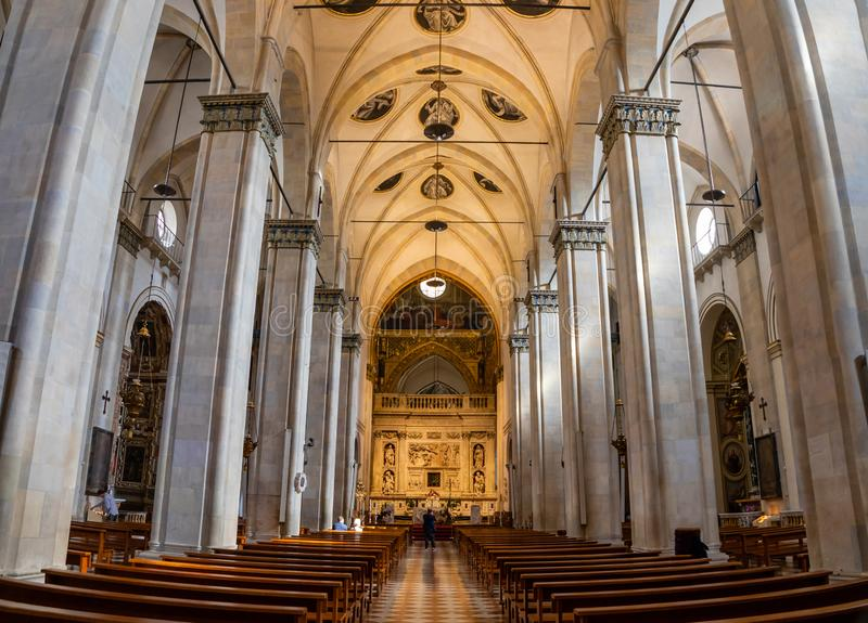 Loreto, Ancona, Italy - 11.10.2018: Interior of the Shrine of Loreto, Santuario della Madonna, detail of the Holy House. Of Our Lady, Italy royalty free stock photo