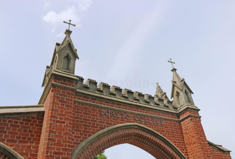 Loreto College (1877) is een Rooms-katholieke die school voor meisjes, in een mengeling van erfenis-vermelde architectuur en mode stock foto