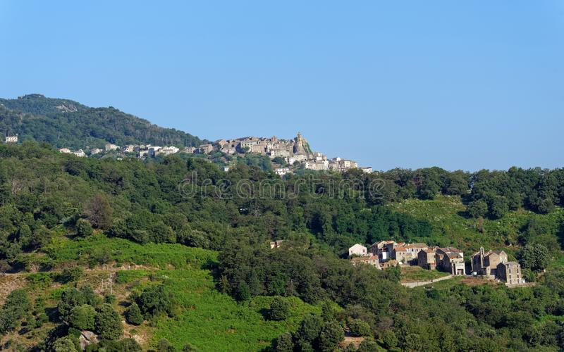 Loreto Di Casinca w Corsica górze zdjęcia royalty free