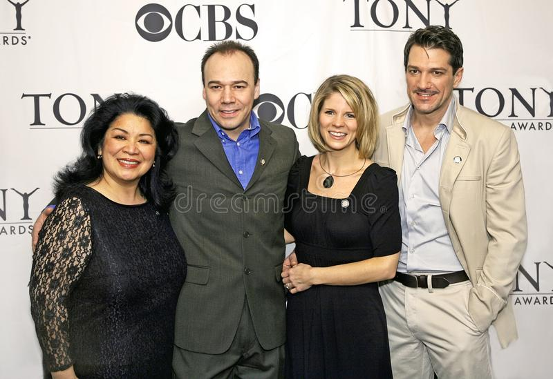Loretta Ables Sayre, Danny Burstein, Kelli O ` Hara, en Paulo Szot royalty-vrije stock afbeelding