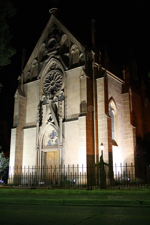 Loretto Chapel in Santa Fe, New Mexico at night stock photo