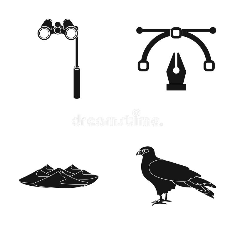 Lorgnette, το φτερό αφισσών και άλλο εικονίδιο Ιστού στο μαύρο ύφος βουνά, εικονίδια αετών στην καθορισμένη συλλογή απεικόνιση αποθεμάτων