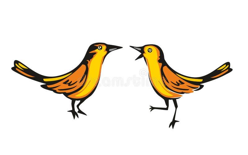 Loriot d'or d'isolement sur le fond blanc Oiseau deux se reposant Illustration plate de vecteur illustration de vecteur