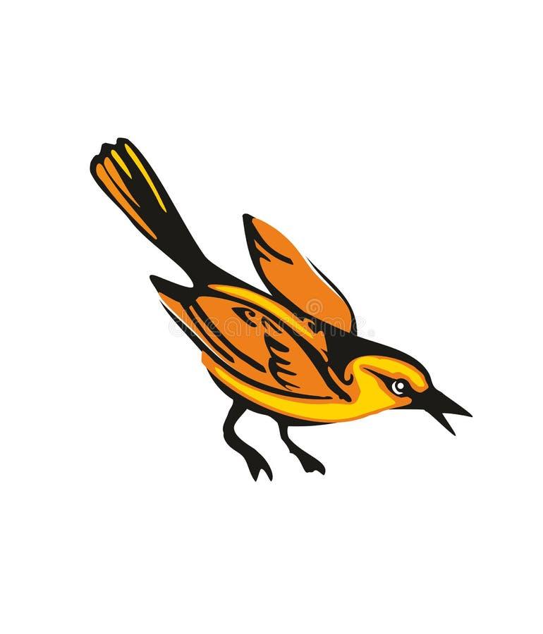 Loriot d'or d'isolement sur le fond blanc Un oiseau se reposant Illustration plate de vecteur illustration stock
