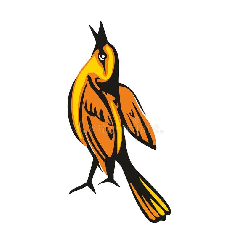 Loriot d'or d'isolement sur le fond blanc Un oiseau se reposant recherchent Illustration plate de vecteur illustration stock