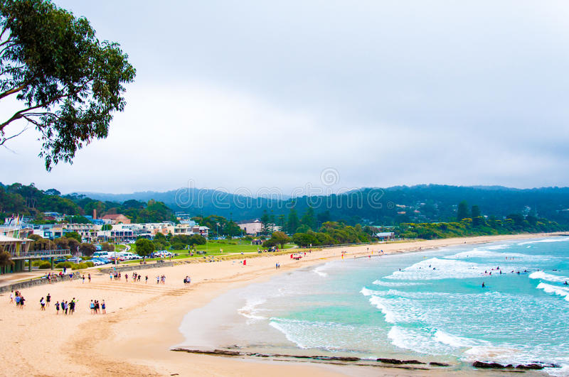 Lorne beach on Great Ocean Road, Victoria state, Australia. Victoria state, Australia - 19 February 2015: Lorne beach on Great Ocean Road, Victoria state stock photography