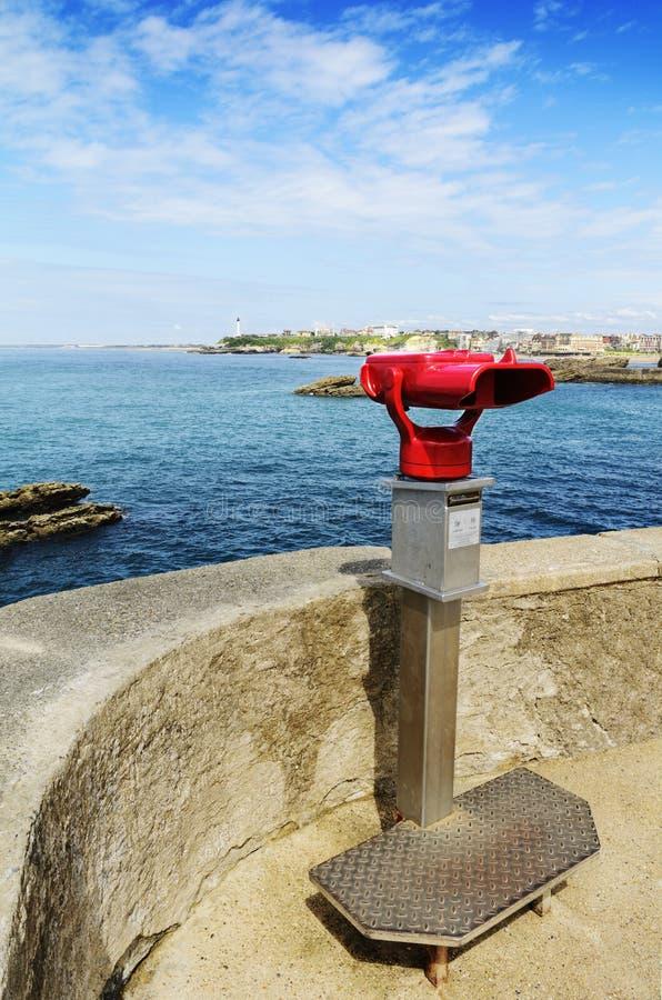 Lornetki i latarnia morska Biarritz, Francja fotografia stock