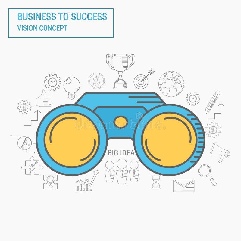 lornetki Wzroku i linii ikon biznesowego sukcesu pojęcie ilustracja wektor