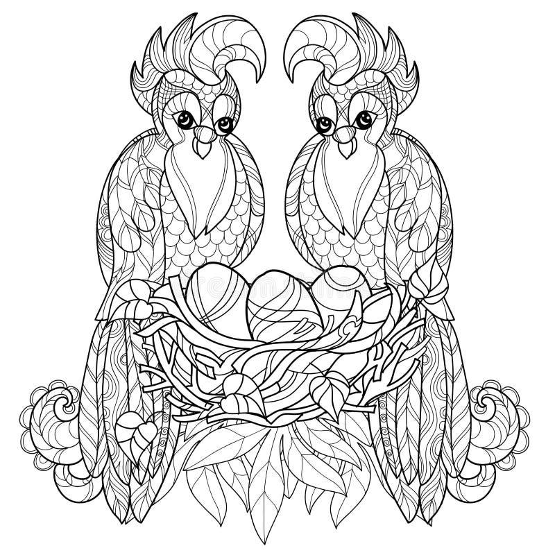 Loro de Zentangle en vector dibujado mano de la jerarquía stock de ilustración