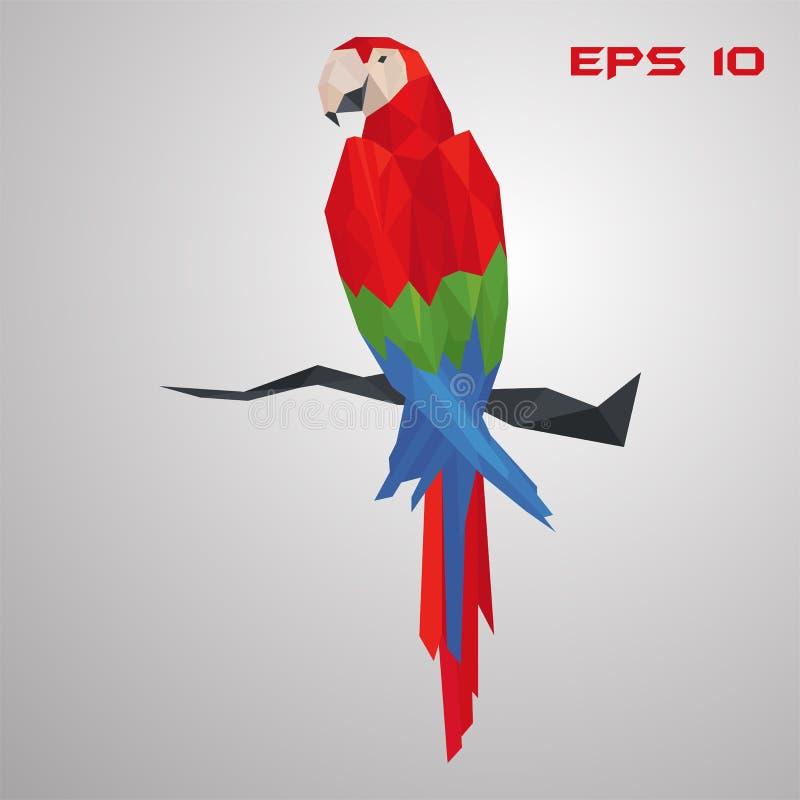 Loro del Macaw bajo polivinílico Pájaro exótico del polígono Ejemplo colorido del vector del triángulo en fondo gris ilustración del vector