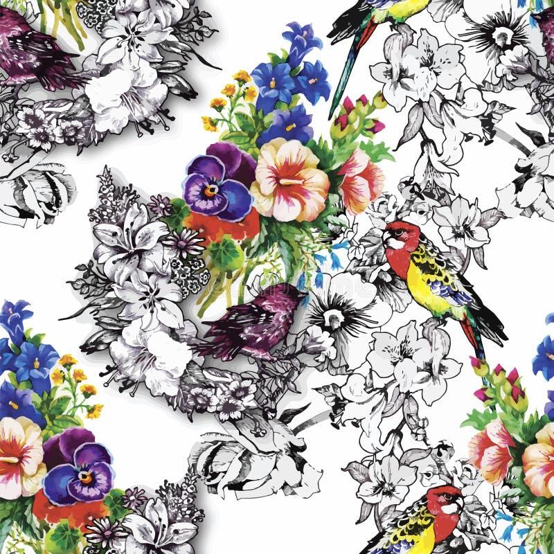 Loro exótico de los pájaros con el modelo inconsútil colorido de las flores Ilustración de la acuarela stock de ilustración