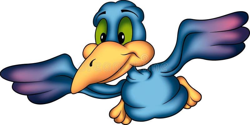 Loro sonriente azul que vuela stock de ilustración
