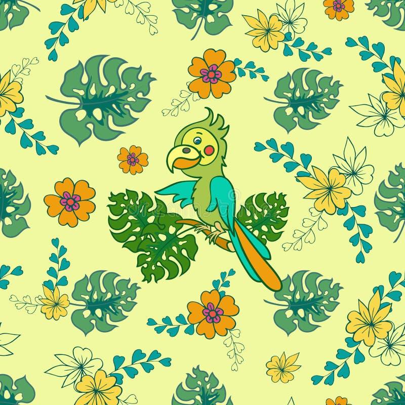 Loro verde claro en una rama Ejemplo del vector para los niños Modelo inconsútil Pájaro lindo de la historieta libre illustration
