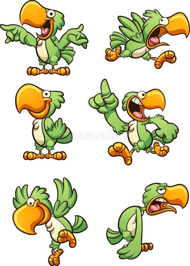Loro verde de la historieta con diversas expresiones ilustración del vector