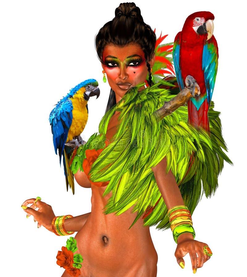 Loros en los hombros de la mujer atractiva con las plumas ilustración del vector