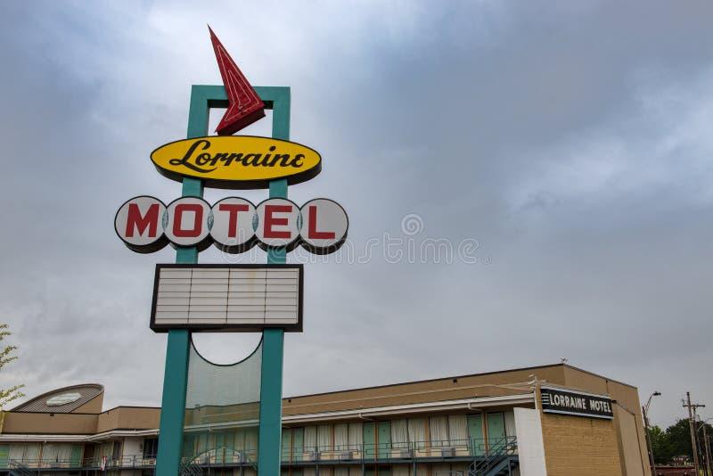 Lorraine Motel Sign al museo nazionale di diritti civili nella città di Memphis fotografia stock
