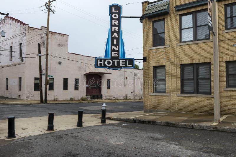 Lorraine Motel Sign am nationalen Bürgerrecht-Museum in Memphis lizenzfreie stockfotos