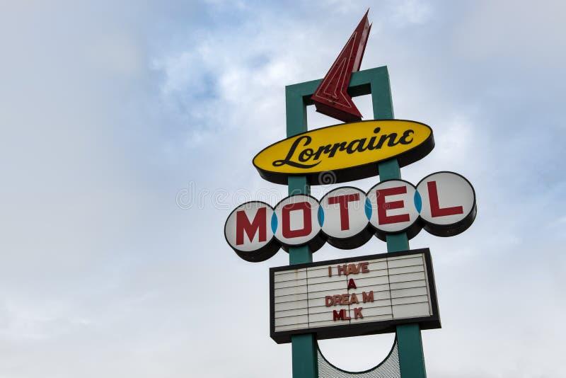 Lorraine Motel Sign på det nationella medborgerlig rättighetmuseet med den berömda Martin Luther King Jr uttrycket har jag en drö royaltyfria bilder