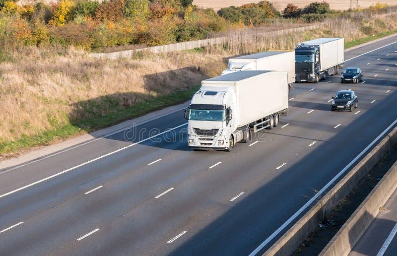 Lorries on the motorway stock photos