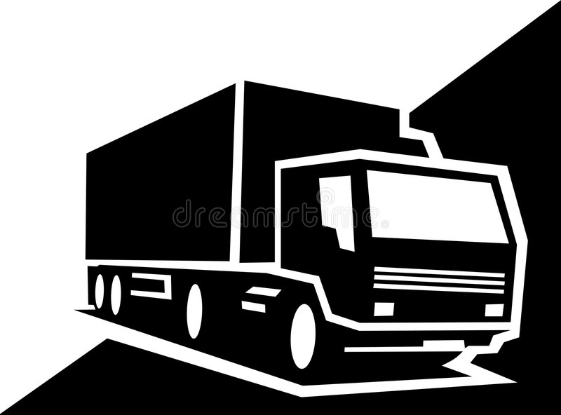 Lorry. Black and white illustration of a lorry vector illustration