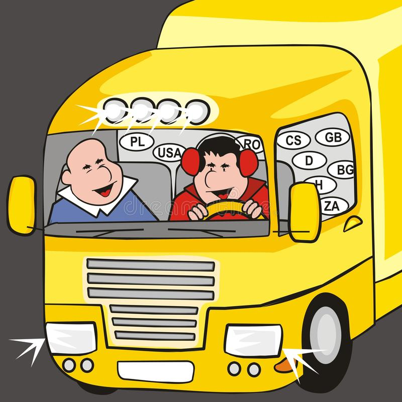 Lorry - cab. Two drivers are in yellow cab truck stock illustration