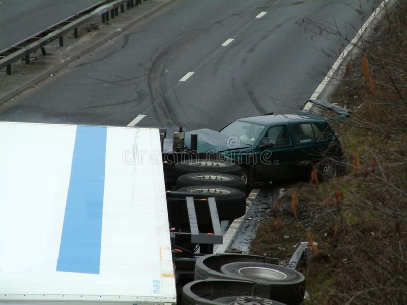Lorry crash. Road traffic collision royalty free stock images