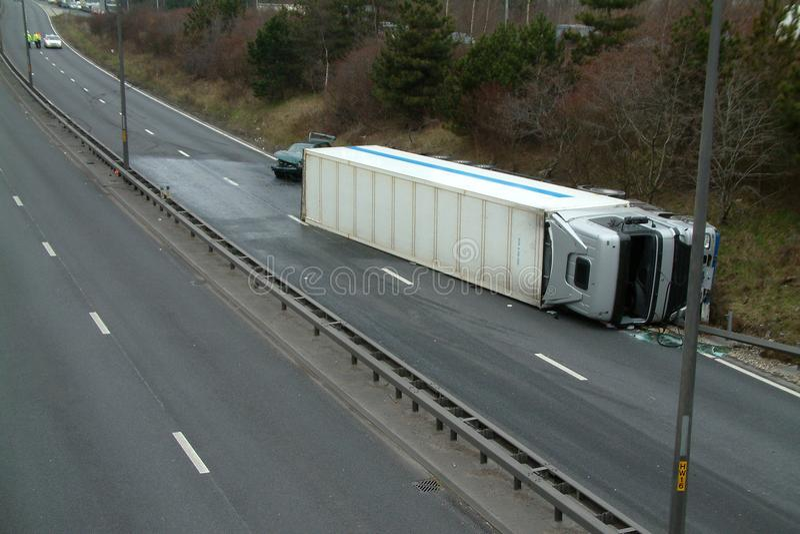Lorry crash. Road traffic collision stock photography
