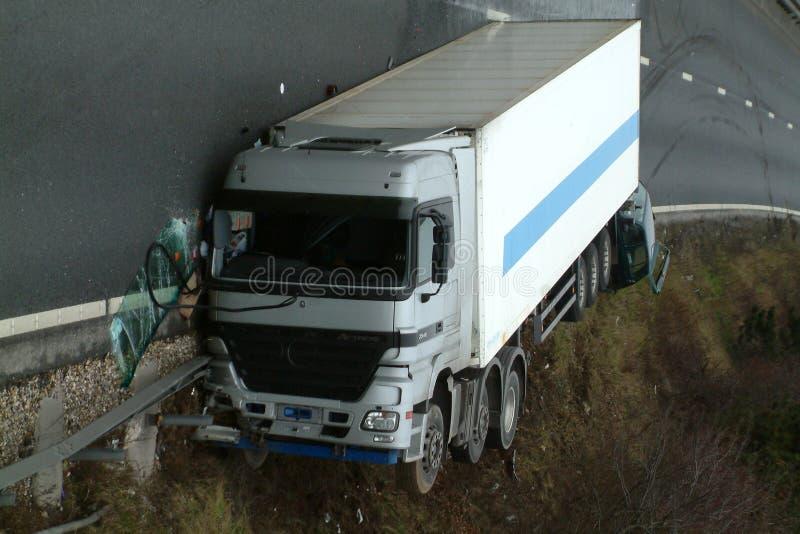 Lorry crash. Road traffic collision stock image