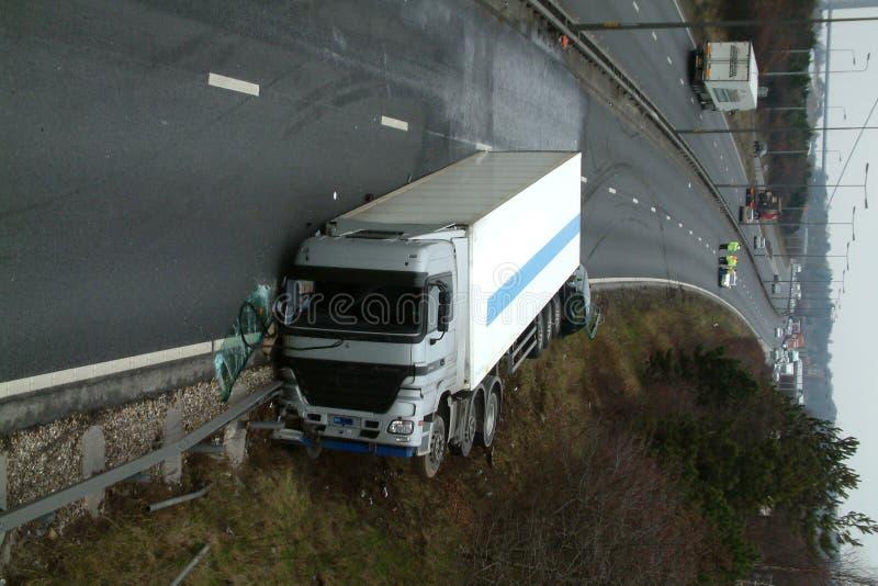 Lorry crash. Road traffic collision stock photos