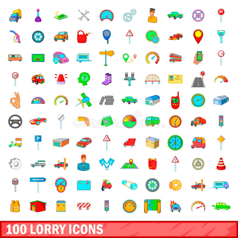 100 lorry icons set, cartoon style. 100 lorry icons set in cartoon style for any design vector illustration vector illustration