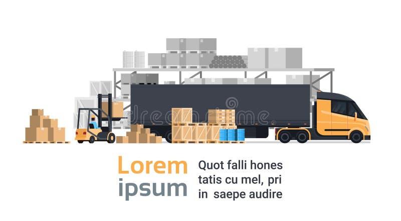 Lorry Loading With Forklift, bâtiment d'entrepôt de camion de récipient de cargaison Concept d'expédition et de transport illustration libre de droits