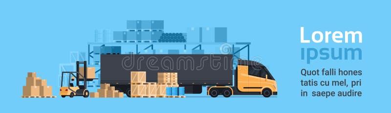 Lorry Loading With Forklift, Fracht-Containerfahrzeug-Lager-Gebäude Versand-und Transport-Konzept horizontal stock abbildung