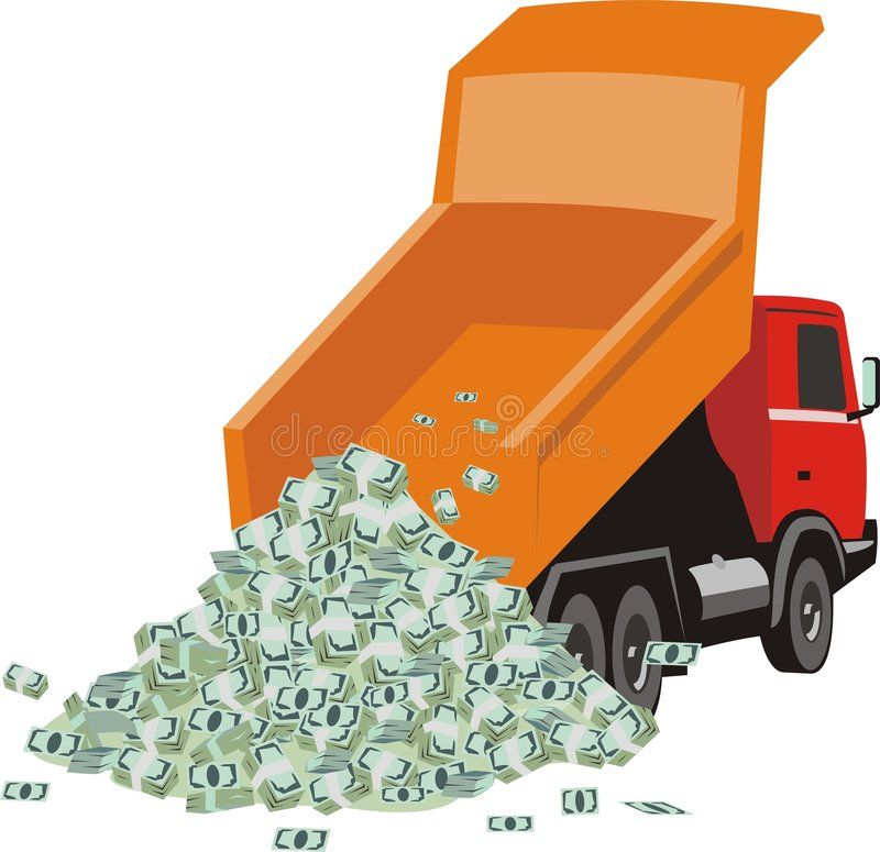 Lorry with money. Vector picture on which is expressed dump truck unloading heap of the money vector illustration