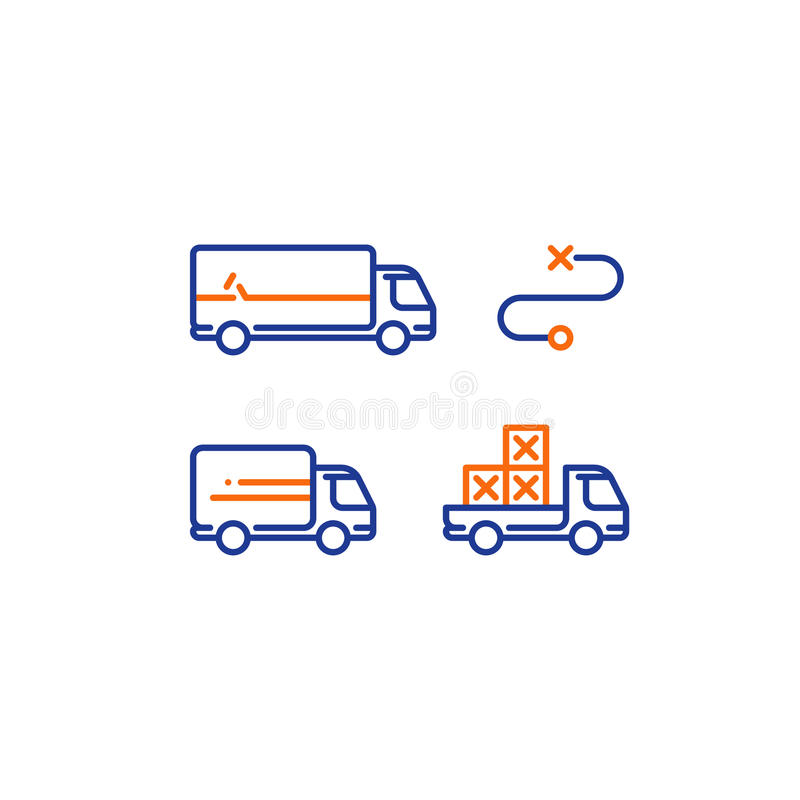 Lorry and pick up truck transportation, delivery services, logistics icon stock illustration