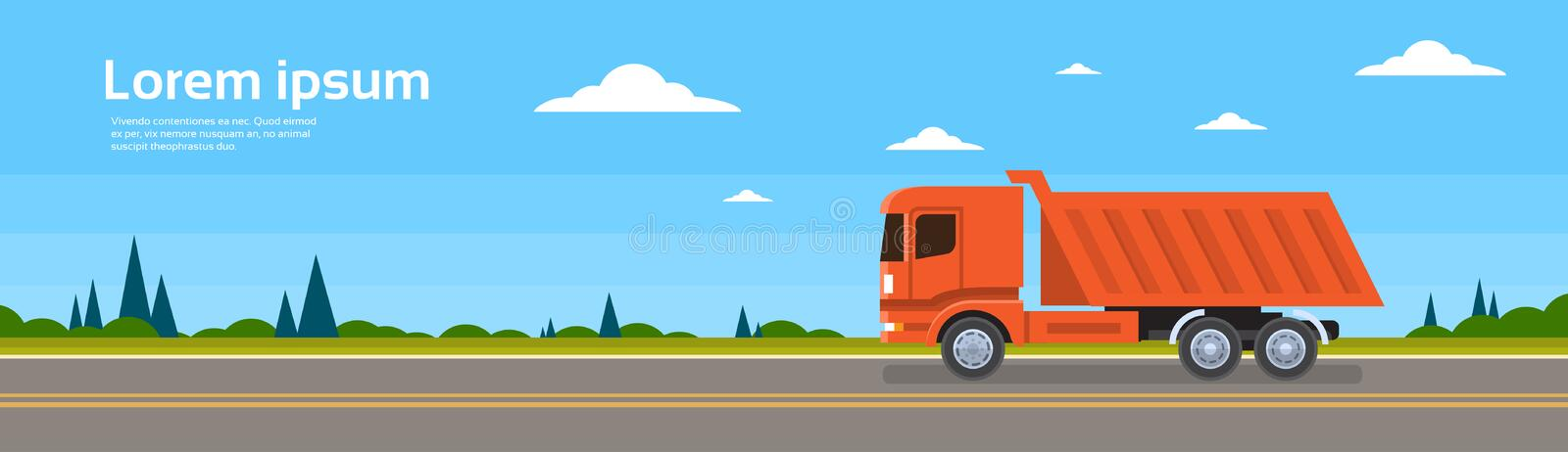 Lorry Tipper Truck Dump Car On Road Cargo Shipping Delivery stock illustration