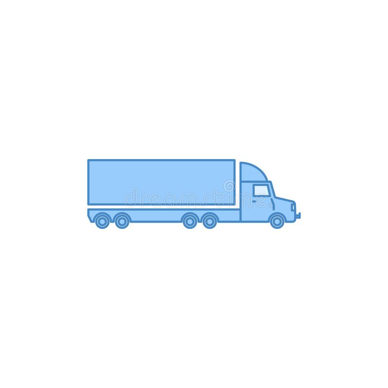 Lorry with a trailer filled outline icon. Element of transport icon for mobile concept and web apps. Thin line lorry with a traile. R filled outline icon can be royalty free illustration