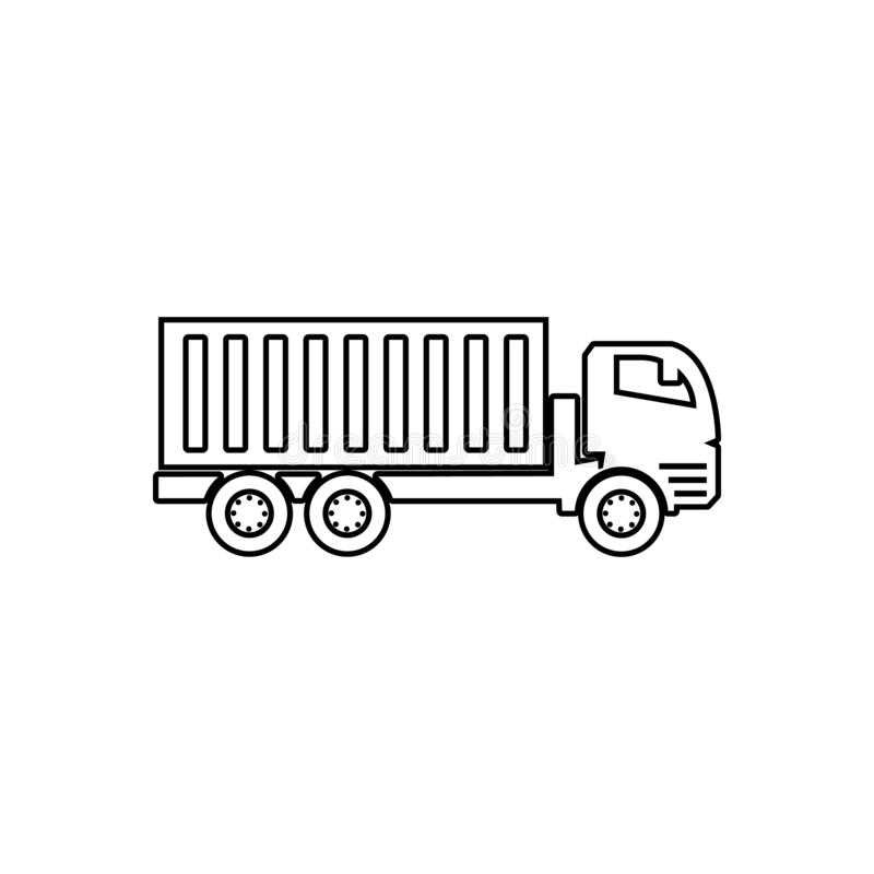 Lorry with a trailer icon. Element of transport for mobile concept and web apps icon. Outline, thin line icon for website design. And development, app stock illustration