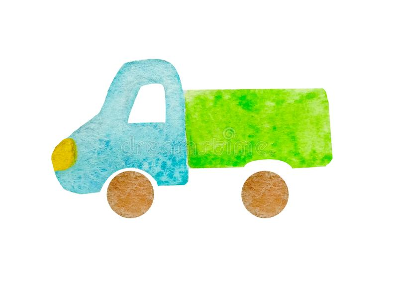 Lorry truck with blue cab and green bodywork in watercolor naive style isolated on white background for postcards royalty free stock photography