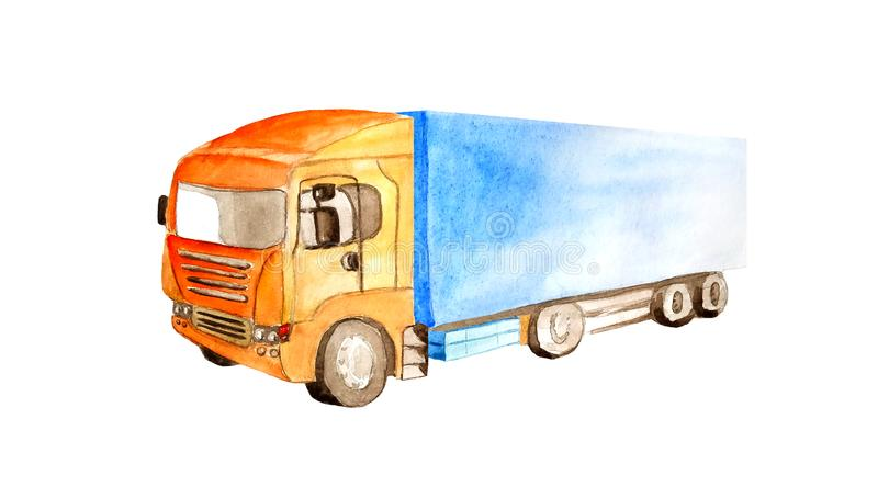 Lorry truck with orange cab and blue bodywork in watercolor style isolated on white background. For postcards, business cards, illustration of cargo transport royalty free illustration