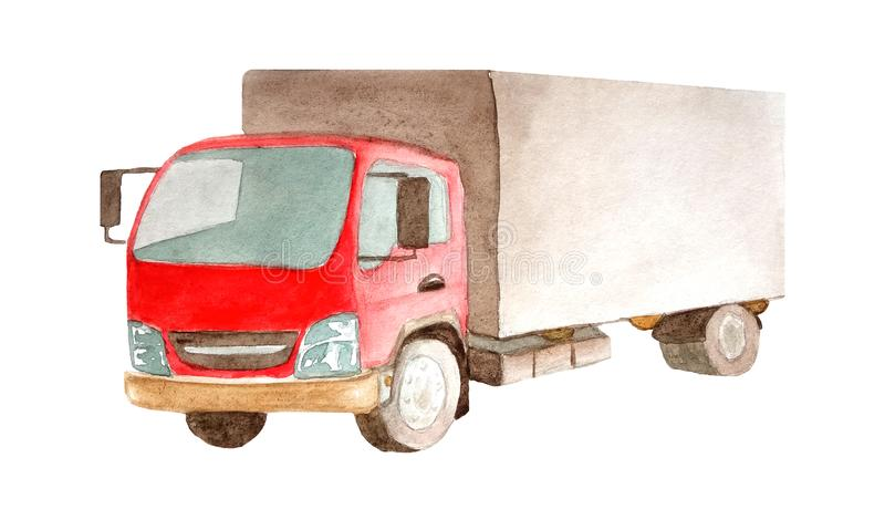Lorry truck with red cab and gray bodywork 4 wheels in watercolor style isolated on white background for postcards, business cards. Illustration of cargo royalty free illustration