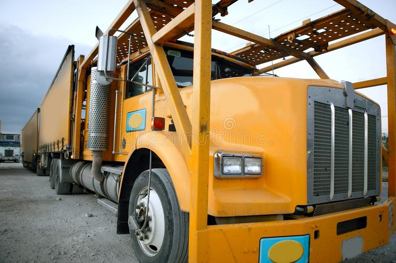 Lorry in yellow color stock photo
