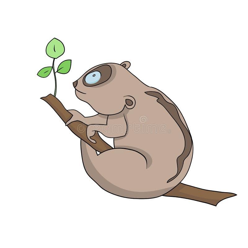Lory na árvore ilustração do vetor