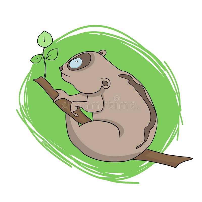 Lory na árvore ilustração stock