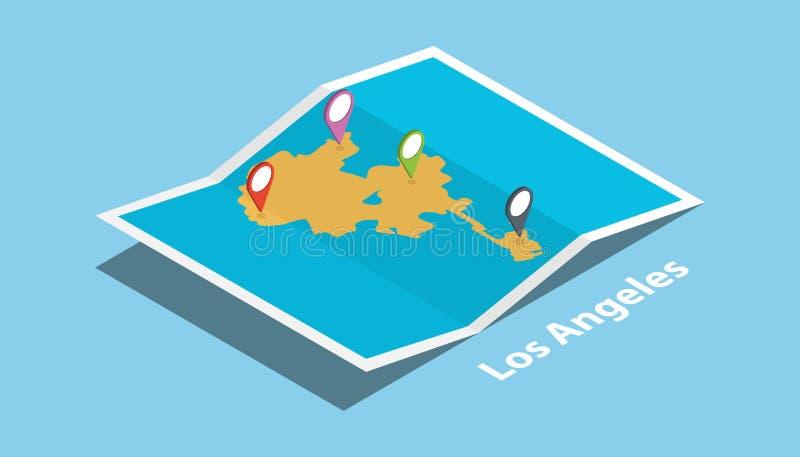 Los Ángeles California meridional los E.E.U.U. explora mapas con la etiqueta isométrica de la ubicación del estilo y del perno en ilustración del vector