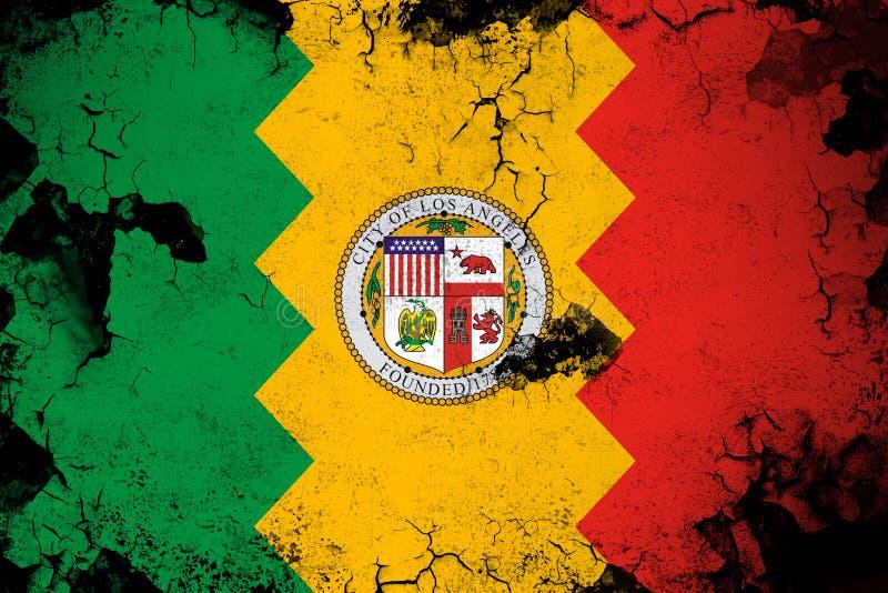 Los Ángeles California oxidada y ejemplo de la bandera del grunge libre illustration