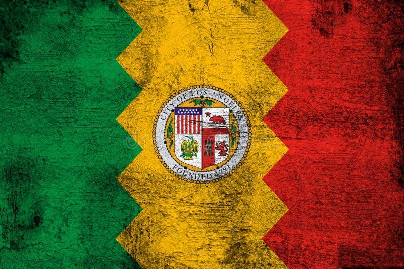 Los Ángeles California oxidada y ejemplo de la bandera del grunge stock de ilustración