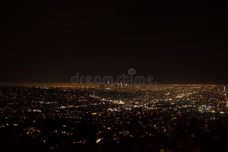 Los Ángeles de paisajes nocturnos del Observatorio Griffith de Estados Unidos fotografía de archivo libre de regalías