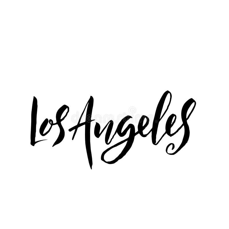 Los Ángeles, los E Diseño de letras seco del cepillo de la tipografía Cartel dibujado mano de la caligrafía Ilustración del vecto libre illustration