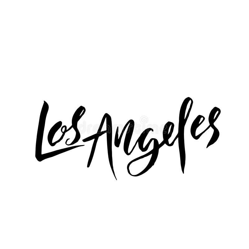 Los Ángeles, los E Diseño de letras seco del cepillo de la tipografía Cartel dibujado mano de la caligrafía Ilustración del vecto ilustración del vector